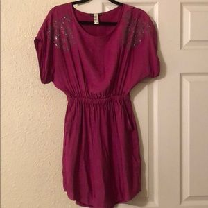 Fuschia banded dress with studded arm detail